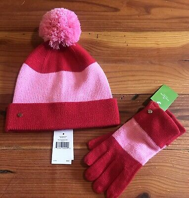 ba5d362697bf0 New Kate Spade New York Pink Red Color Block Beanie Hat And Gloves Set NWT