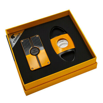 COHIBA Yellow 3 Torch Jet Flame Metal Cigar Cigarette Lighter Cutter Gift Set