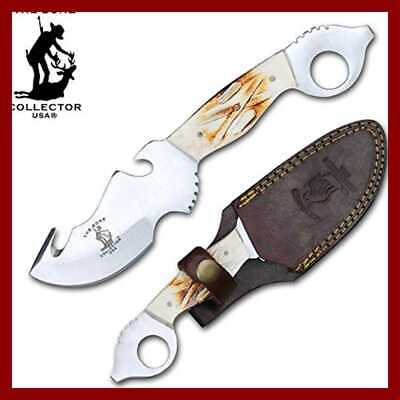 "BC 806 8.25"" Overall The Gut Hook Blade Skinner Knife W Leather Sheath Size 4.25"