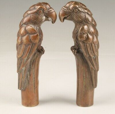 2Chinese Bronze Hand-Cast Parrot Walking Stick Head Collection Handle