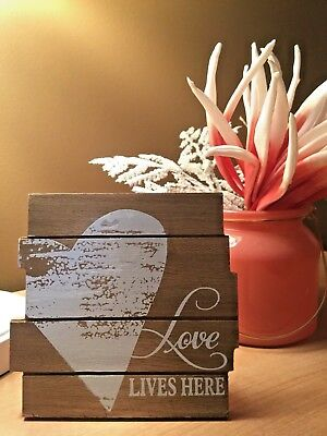 """Romantic """"Love Lives Here"""" Wooden Table Top Plaque Perfect Love Theme Decor"""