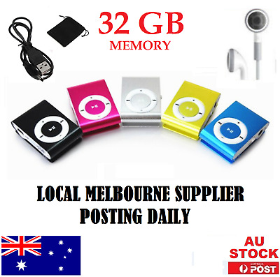 MP3 Player iPod Style 32GB PORTABLE NEW METAL USB MINI CLIP ON Music Player