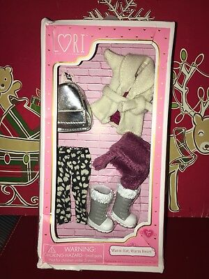 "Lori 6"" Doll Clothes Warm Hat, Warm Heart w Purse Boots Hat & Outfit Set!"