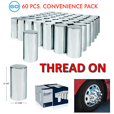 "(Set/60) Chrome Cylinder Lug Nut Covers 33mm Thread-On (4-1/4"" Tall) 60-Pack"