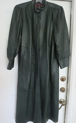Hunter green vintage USA made leather trench coat womens size M