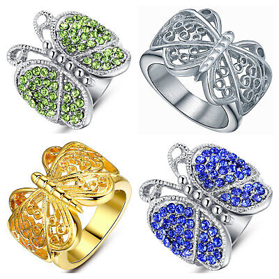 Women's Stainless Steel Butterfly Filigree Cocktail Fashion Statement Ring