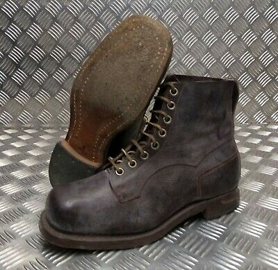 Genuine Vintage Army Leather WW2 Era Brown 8 Hole Leather Boots 1942 Size Eur 45