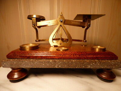 Antique English Brass & Oak Postal Scale-Warranted Accurate w/weights-Excellent