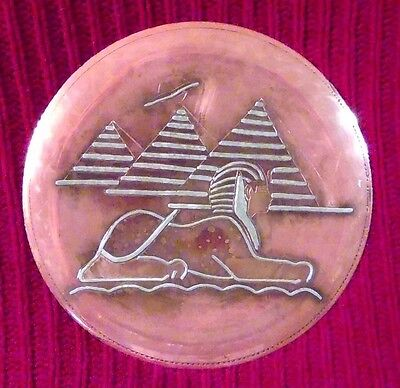 Vintage Egyptian Sphinx and Pyramids  Hand Made Copper Plate with Silver Lines
