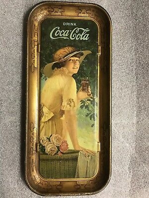 1916  Coca Cola Tray Elaine Antique Girl With Flower Basket