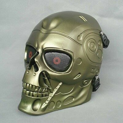 Full Face Protection Paintball Airsoft T800 Skull Mask Props Bronze Color JD26