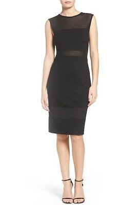 * FRENCH CONNECTION FCUK Lula Mesh Sheer Round Neck Black Dress 6 NWT *