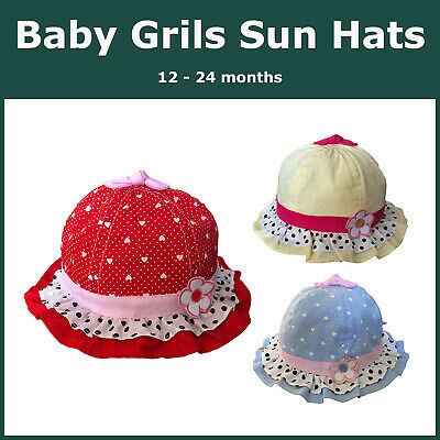 Baby Girls Cotton Polka Dots Layered Frill Hat Cap Hearts w/ Flower Bow Knot