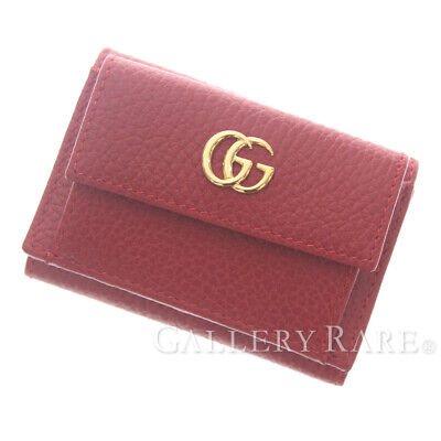da515be3538 GUCCI Petite Marmont Leather Hibiscus Red 523277 Wallet Italy Authentic  5327430