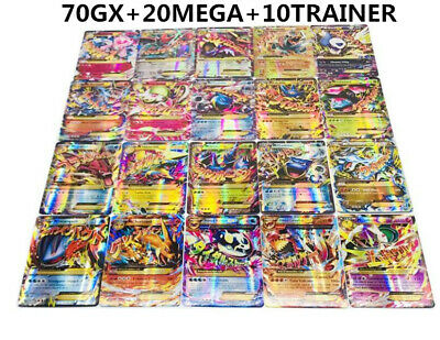 New 100pcs Pokemon Card 70GX+20MEGA+10TRAINER Holo Flash Trading GX Cards Mixed