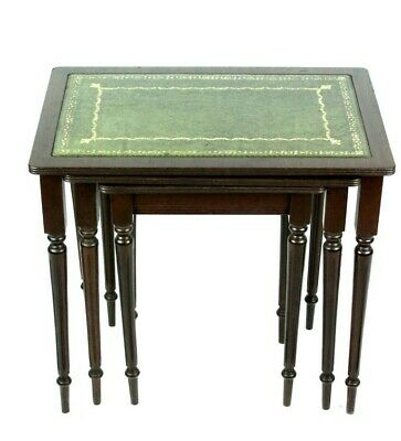 Vintage Mahogany Leather Top Nest of 3 Tables - FREE Shipping [5117]