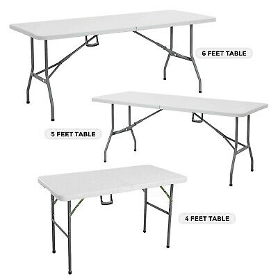 4Ft 5Ft & 6Ft Camping Catering Heavy Duty Folding Table Trestle Picnic Bbq Party