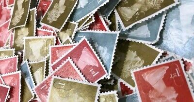 100 1st Class (First) Unfranked Stamps Off Paper No Gum Security CHEAPEST!!!