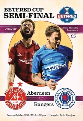 Rangers v Aberdeen 2018/19 Betfred Cup brand new football programme