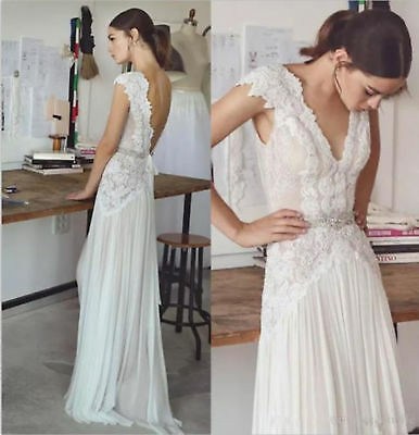 Boho Lace Chiffon Beach Wedding Dress Backless Sexy V Neck Bohemian Bridal Gowns