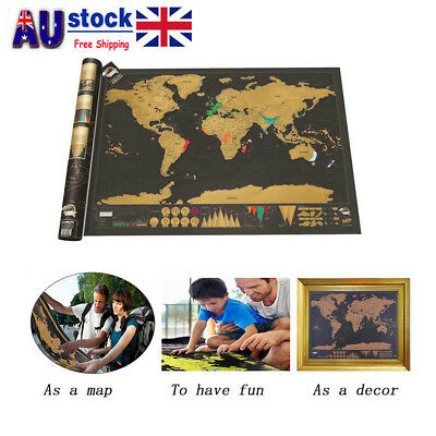 Small Scratch Off World Map Poster Journal Log Giant Map Of The World Gift AU