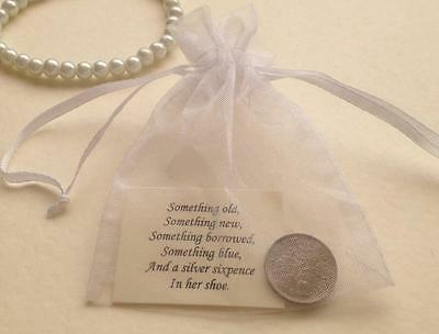 Bride's Silver Sixpence in Organza Gift Bag - Lucky Wedding Shoe Charm - Present