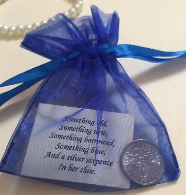 Bride's Silver Sixpence Gift - Something Old, Something Blue Lucky Wedding Charm