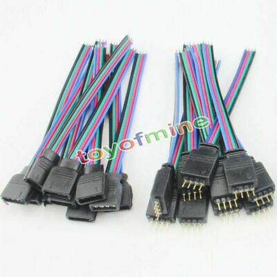 5 x 4Pin Male+Female Connector Cable Wire for LED Flexible Strips 3528 5050 RGB
