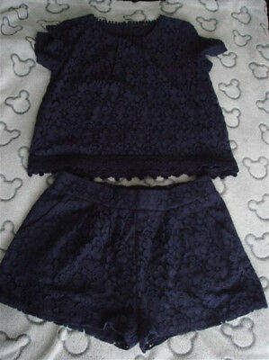 Girls Next Navy Lace Top & Shorts Set Aged 12 Years