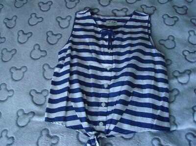 Girls Bnwt Next Navy & White Tie Front Sleeveless Blouse Aged 10 Years