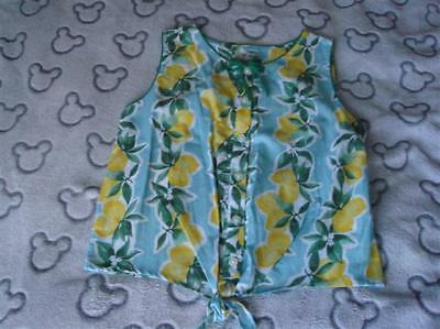 Girls Bnwt Next Green & Lemon Tie Front Sleeveless Blouse Aged 10 Years