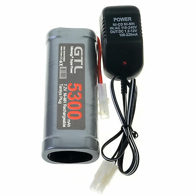1pc 7.2V 5300mAh Ni-Mh Rechargeable Battery Pack RC Tamiya Plug+Charger US Gray