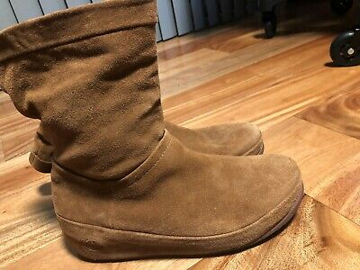 b9c163593 FITFLOP Crush Pull Up Platform BOOTS Ladies Brown Sugar Suede BOOTIES sz 8