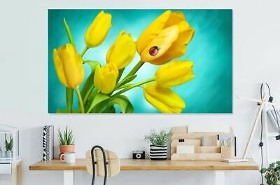ladybird-on-yellow-tulips- Print Home Decor Wall Art choose your size