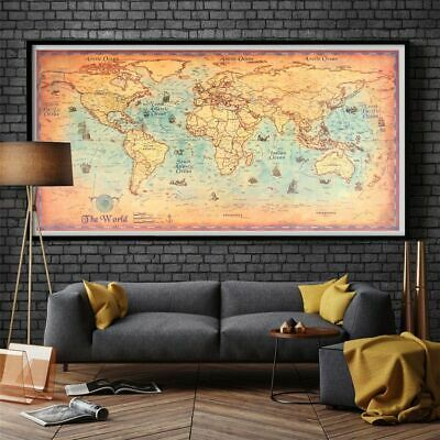 Vintage World Map Nautical Ocean Sea Retro Old Painting Home Decor Wall Poster