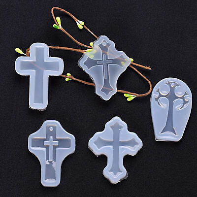 5x DIY Cross Silicone Mold Making Jewelry Pendant Resin Casting Mould Craft Kit
