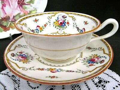 CAULDON tea cup and saucer rose swag floral painted teacup pattern