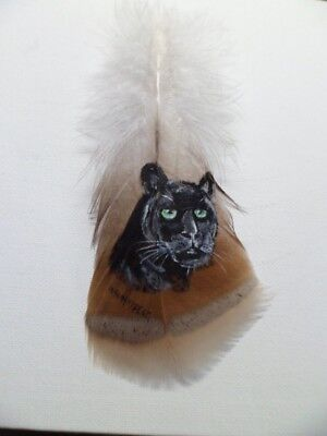 BLACK PANTHER-Hand painted rare turkey feather, by artist W. W. Hoffert