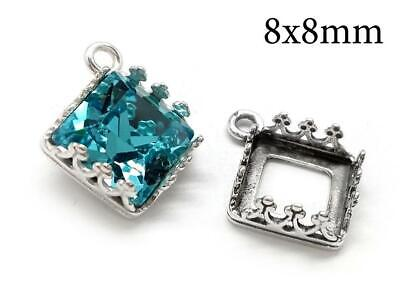 4pcs Sterling Silver 925 Crown Square Bezel Setting 8x8mm - Jewelry base 1 loop