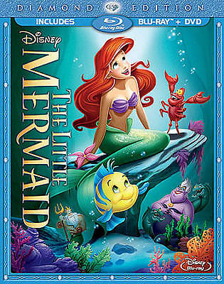 The Little Mermaid (Blu-ray/DVD, 2013) 2-Disc Set Diamond Edition w/ Slipcover