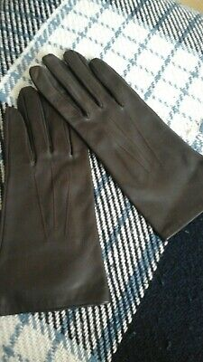 Vintage ladies brown leather gloves silk lined size L