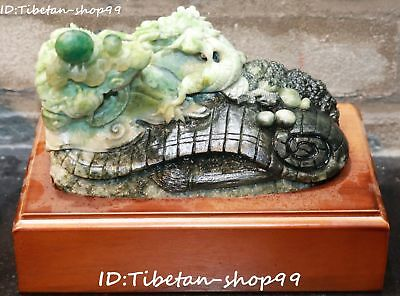China Natural Dushan Jade Hand Carved Feng Shui Dragon Loong Book Ruyi Statue