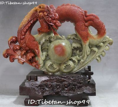 Unique Natural Shoushan Stone Hand Carving Dragon Loong Play Bead Animal Statue