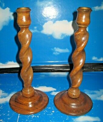 Pair Of Vintage Barley Twist Candlesticks