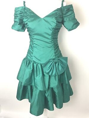 95b51df99363 Vintage Green Prom Dress Union Made Size 7 8 Taffeta Shiny 80s 90s Party