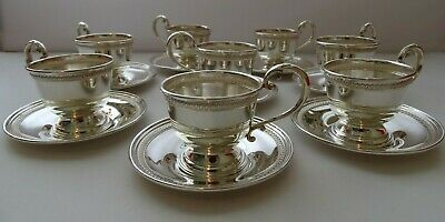 FISHER STERLING 600 - Silver Tea & Coffee Cup Holders & Plates - 8 Persons Set