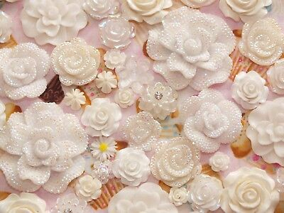 Mixed Resin Sparkle Flowers Roses Ice White Flatback Cabochon BULK DIY U CHOOSE