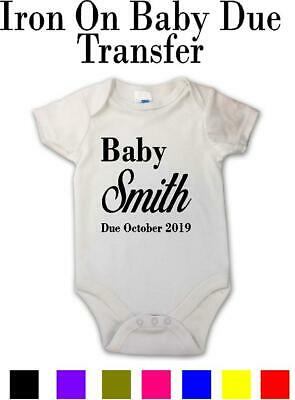 Pregnancy Baby Announcement Ideal For Baby Vest Grow Bodysuit Personalised Name