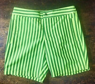 a4b5349773 MR TURK Lime Green Black Striped Swim Trunks Board Shorts Mens Size 28 *NWOT *