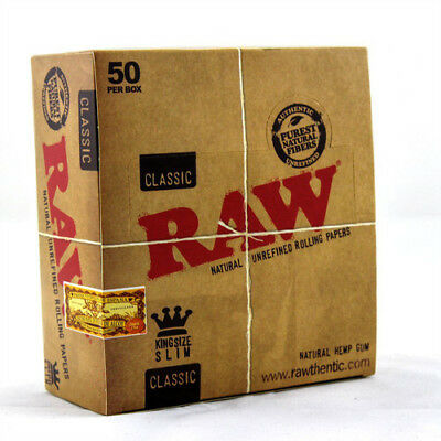 Raw Classic King Size Slim Tobacco Rolling Papers - Natural Unrefined Rizla